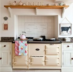 Classic cream Aga with pretty painted cabinets