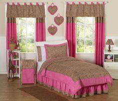 Cheetah Pink Animal Print Bedding Set - 3 Piece Full/Queen Size By Sweet Jojo Designs Girls Twin Bedding Sets, Pink Bedding Set, Teen Girl Bedding, Twin Comforter Sets, Teen Girl Bedrooms, Queen Bedding, Purple Bedding, Brown Bedding, Baby Bedding