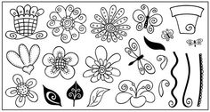 Flowers, butterfly, stems and leaves.