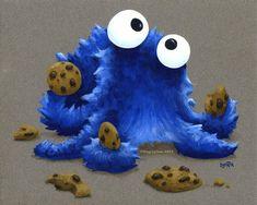 Cookie Monster Octopus by MegLyman.deviantart.com on @deviantART