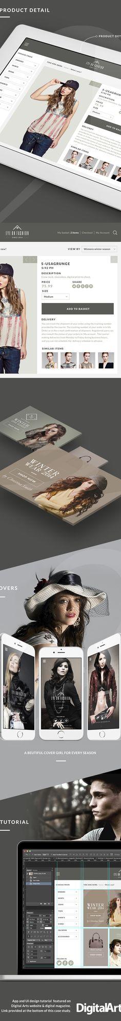 Fashion iPad app UI Tutorial on Digital Arts online on Web Design Served