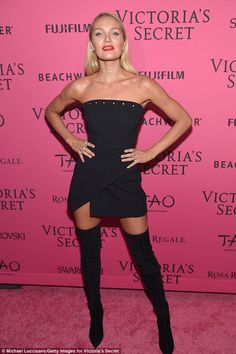 LBD lady: Following the fashion festivities, Swanepoel donned a strapless top tucked into a mini-wrap skirt and thigh-high boots for the TAO Downtown afterparty
