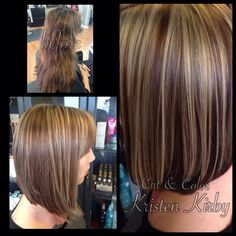 Before and after, hair color, highlights, L'anza haircare, Olaplex, haircut