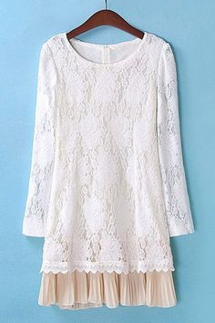 Chiffon Splicing Pleated Slimming Ladylike Style Lace Splicing Scoop Neck Women's Dress, AS THE PICTURE, L in Lace Dresses   DressLily.com