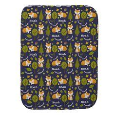 Personalized Fox Baby Boy Burp Cloth