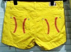 Cute Hand Painted Yellow Softball Shorts by karricouture Softball Shoes, Softball Party, Softball Crafts, Softball Players, Girls Softball, Fastpitch Softball, Baseball Mom, Baseball Shirts, Softball Stuff