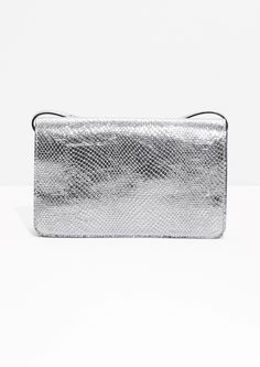 & Other Stories image 1 of Silver Snake Embossed Leather Bag in Silver