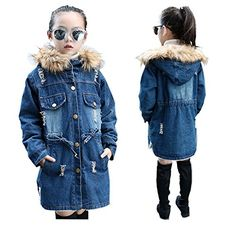 Canvos Little Girls Hooded Jacket Winter Warm Denim Thick Outerwear 5-13Y(Blue)