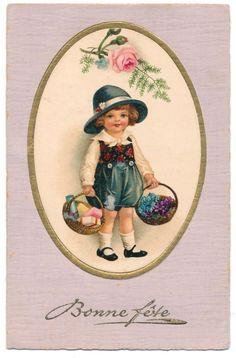 Euro Ellen Clapsaddle - Boy Holding Two Baskets