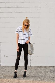 stripes, ripped jeans, cutout booties, and the sienna miller bun #loveMV
