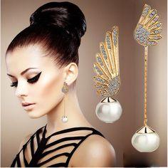 100% New! Women's Wing Earring Long Wing: 6cm. Short Wing: 4.5cm. It Comes Directly From Factory. Jewelry Earrings