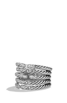 David Yurman 'Willow' Five-Row Ring with Diamonds (=)