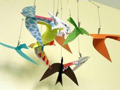 Bright Happy Forest Theme Baby Room Ideas/ love to incorporate origami in everything..