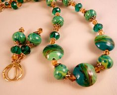 Lampwork+Necklace+Crystal+Necklace+Emerald+by+bluerosebeadery,+$36.00
