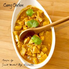 Curry Chicken. INGREDIENTS:    •2 lbs Chicken, diced   •1 onion   •3 cloves of garlic   •fresh ginger, even amount as the garlic, minced (or 1 tsp ground ginger)   •2 cardamom pods (1 tsp ground cardamom)   •2 cloves   •1 tsp cinnamon   •1-2 Tbsp curry powder   •4 medium sized potatoes, cubed   •13.5 oz can of coconut milk   •3 Tbsp ketchup   •1-2 bouillon cubes   •salt & pepper