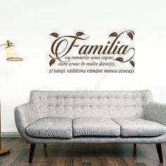 """Sticker Familia  """"Familia nu este un lucru important, este totul."""" Michael J. Fox  O decoratiune care nu ar trebui sa lipseasca din nici o casa, un sticker cu ganduri bune pentru o familie frumoasa si fericita. Un cadou binevenit pentru ziua de nastere a prietenilor, un cadou de casa noua pentru colegi, un cadou de casatorie foarte apreciat, un sticker deosebit pentru casa ta!  Comanda stickerul decorativ Familia si creaza o atmosfera unica, calda si plina de iubire. Motto, Love Seat, Couch, God, Stickers, Quotes, Furniture, Home Decor, Dios"""