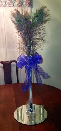 peacock feather centerpieces centerpieces