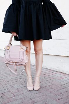 MLM Label Bell Sleeve Black Dress with Chloé scalloped heels on Kendi Everyday