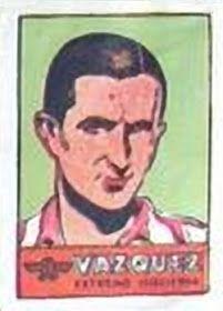 Juan Vázquez. Atlético de Madrid. 1941-42. Cromos Bruguera. Extremo izquierda titular.