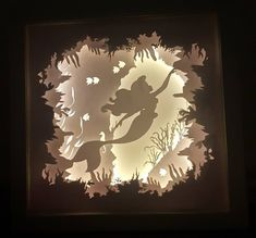 Part of Your World - The Little Mermaid inspired Light up Shadow Box Shadow Box Kunst, Diy Shadow Box, 3d Paper Art, Wrapping Paper Crafts, Mood Light, Paper Cutting, Cut Paper, Layers Design, Handmade Design