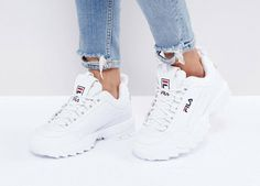 White Fila Disruptor low trainers   #trainers #sneakers #womensfashion