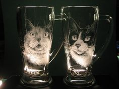 Engraved cats on glass