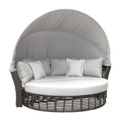 Transform your backyard into a relaxing outdoor retreat with the Panama Jack Graphite Outdoor Canopy Daybed. The daybed is handcrafted in lightweight yet strong aluminum which duplicates the look of weathered wicker in a large scale, modern design. Sofa Daybed, Daybed Sets, Daybed Canopy, Outdoor Daybed, Patio Loveseat, Outdoor Sectional, Outdoor Fabric, Sectional Sofa, Outdoor Furniture