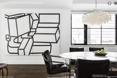 Bold dining room art at 61 Fifth Avenue in NYC..