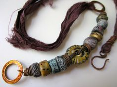 Avalon - ancient tribal primitive gold, lavender, & silver porcelain beads, hammered brass hoops, purple sari silk, and copper necklace by LoveRoot, $93.00