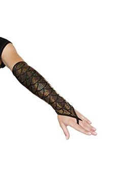 Pair of Fingerless Elbow Length Mermaid Gloves Bundle with Rave Shorts * Check out this great product.