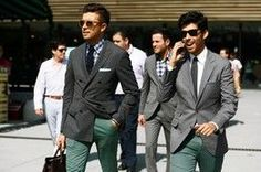 """Mixing jackets with non-matching pants is becoming fashionable for men. Italians refer to it as 'spezzato' which means """"broken in two."""" Mixing patterns and fabrics is being seen on and off the runway in men's fashion. ~Stephanie W."""