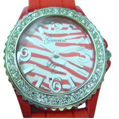 Red Zebra Bling Watch