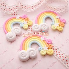 50mm Huge Magical Polymer Clay Rainbow with Stars and Cloud Decoden