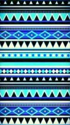 Blue Black Shades Tribal Pattern Wallpaper