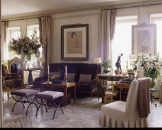 Living room of Howard Slatkin, before he moved things around.  FIFTH AVENUE STYLE, his book, to be published October, 2013