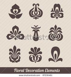 stock vector : Floral Decoration Elements - Stylized Flowers  Folk Art
