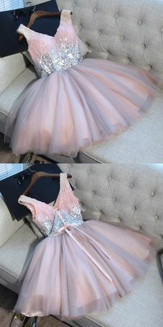 A-Line V-Neck Short Light Grey Tulle Homecoming Dress with Sequins stunning grey tulle short homecoming dresses with sequins, modest ball gown pink hoco dresses for teens School Dresses, Hoco Dresses, Quinceanera Dresses, Trendy Dresses, Homecoming Dresses, Sexy Dresses, Beautiful Dresses, Fashion Dresses, Party Dresses