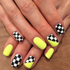 Checker me out! Love my NEW neon checkered nails Thank you ! Neon Acrylic Nails, Glitter Gel Nails, Neon Nails, My Nails, Neon Nail Art, Stiletto Nails, Pink Nails, Nail Swag, Trendy Nails