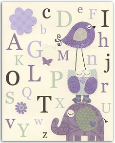 Baby girl room art, Kids Room Decor, Nursery wall Art print, baby elephant, baby, owl ..ABC, Alphabet...gray and lilac, purple, lavender. $17.00, via Etsy. @ in-the-cornerin-the-corner