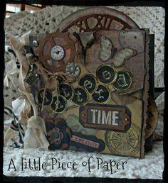 Primitive Premade Lost Found Tim Holtz Mini Album Gathering Chipboard TPHH Debi | eBay