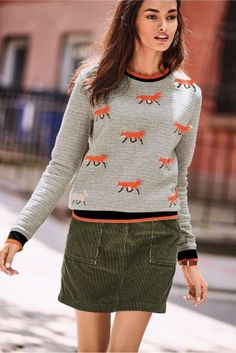 Grey Fox Embroidered Top