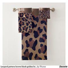 Shop Leopard pattern brown black golden bronze monogram bath towel set created by Thunes. Bath Towel Sets, Bath Towels, Leopard Pattern, Animal Skulls, Organizing Your Home, Diy Face Mask, Pink And Green, Print Design, Monogram