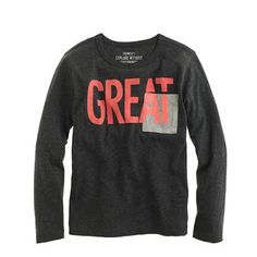 Boys' long-sleeve great tee--Comes out dirt cheap with the extra 40% off!