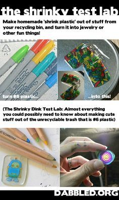 Excellent DIY tutorial on how to make your own shrink plastic (a.k.a. Shrinky Dink) from recycled #6 plastic food takeout containers. Great way to make your own inexpensive jewelry (i.e. earrings, rings, pendant necklaces). Cheap kids craft too. Have them draw a design on it and make into to jewelry for mom. Lovely Mother's Day gift idea.