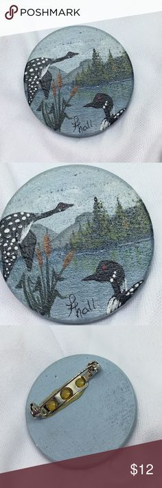 """🆕Vintage Hand-Painted Wood Scenic Pin A 1 1/2"""" in diameter wooden circle, hand-painted with a scenic lake with birds and reeds. Signed by the artist. A simple pin catch has been attached to the reverse. I suspect that this is a one-of-a-kind piece. A wearable work of art! Vintage Jewelry Brooches"""