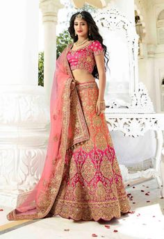 Magenta & Orange designer satin lehenga choli for Asian bride D17002