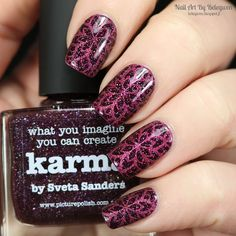 Nail Art by Belegwen: Picture Polish Karma with Essence Pink Parrot stamps