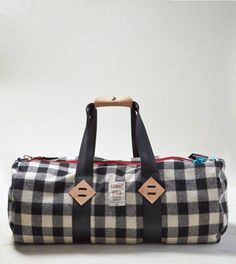 Navy Topo Designs x Woolrich Plaid Duffel Bag