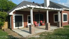 Baytown Patio Cover with brick pedastals made with an insulated aluminum and decorative edges. what a gorgeous low cost option! Gazebo Pergola, Deck With Pergola, Patio Roof, Metal Patio Covers, Aluminum Patio Covers, Patio Images, Polycarbonate Panels, Aluminum Metal, Garden Furniture