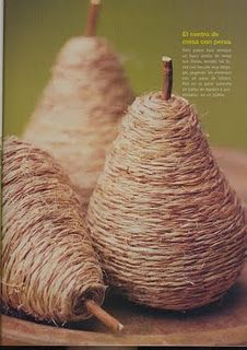 {Light bulbs wrapped in twine w/a stick. Pears!}